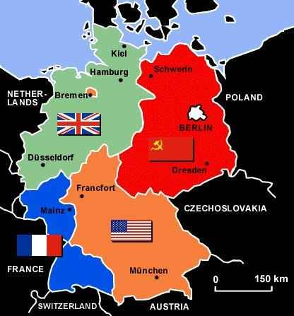 the four allied countries us ussr uk france signed a treaty called the potsdam agreement which divided germany into four zones